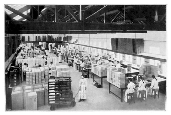 Cadbury's packing room at Bournville